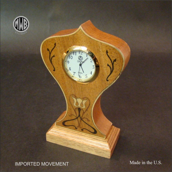 "Clock of Solid African Ribbon Mahogany ""Miniature"". MDC-6 Free Shipping within the U.S."