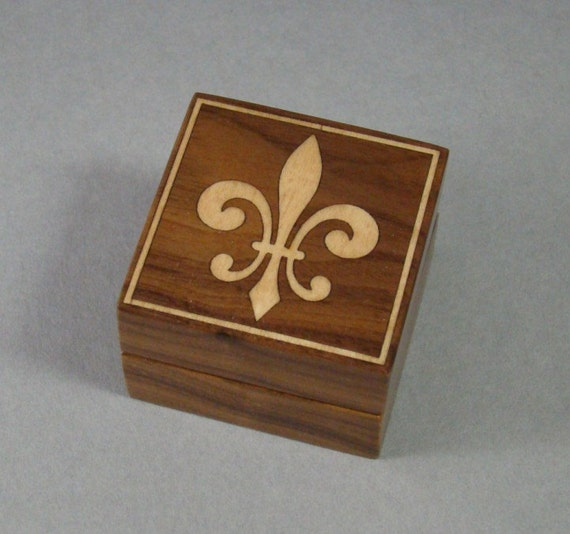 Ring Box of Solid Walnut with Fleur De Lis Inlay.Free Shipping and Engraving. RB-21