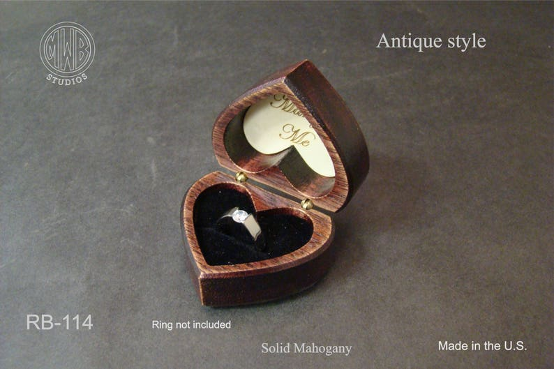 Free Shipping and Engraving Ring Box Heart Shaped Antique Style RB-114