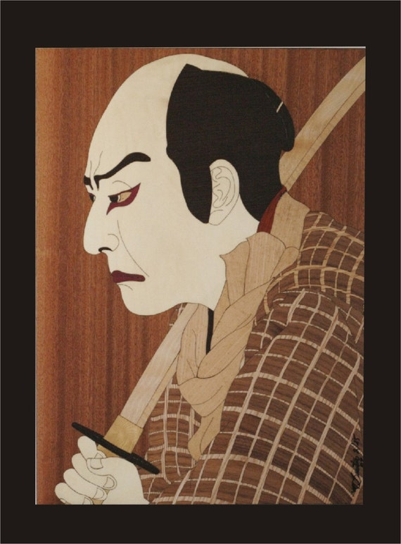 Wall Decor, Kabuki Actor Wood Block Inlay.