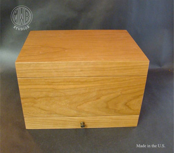 Humidor with Velvet Lined Drawer and Tray, Handcrafted in the U.S., Solid Cherry - Free Engraving, Free Shipping within the U.S.