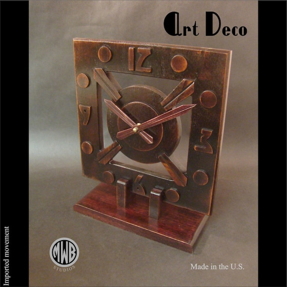 Clock Art Deco Style. LMC-2 Free Shipping within the U.S.