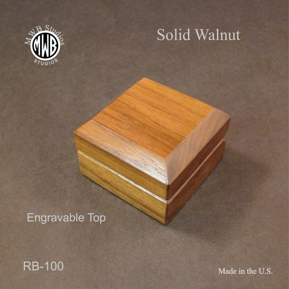 Ring Box Solid Walnut. Free Engraving and Shipping. RB-100