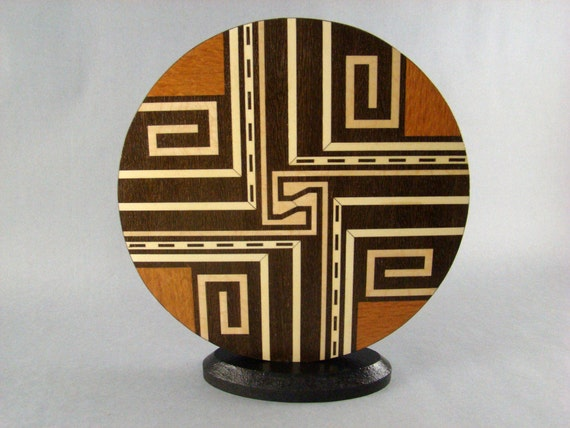 """Inlaid Wood Sculpture called """"Crossroads""""  Free shipping"""
