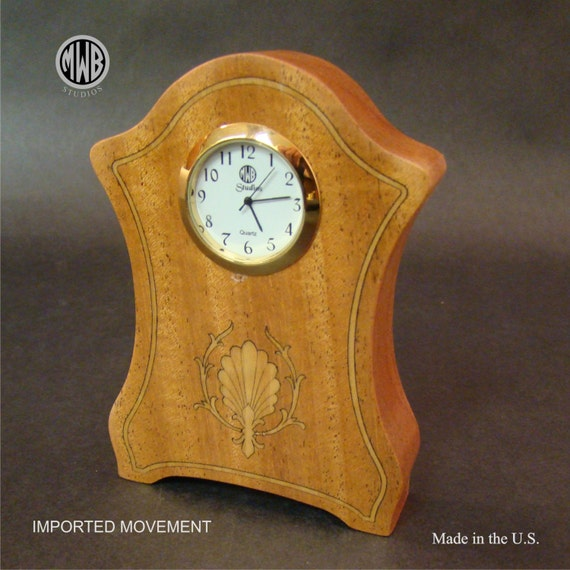 "Clock of Solid African Mahogany ""Miniature"". MDC-31. Free Shipping within the U.S."