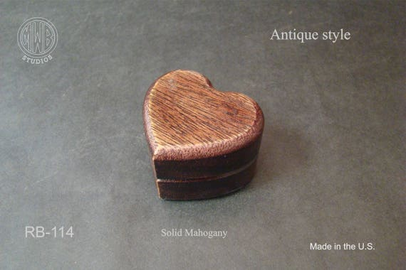 Ring Box Heart Shaped Antique Style. Free Shipping and Engraving. RB-114