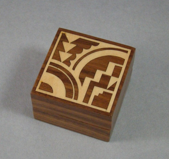 Solid Walnut Box with Maple Inlay. Free Shipping and Engraving. RB-9