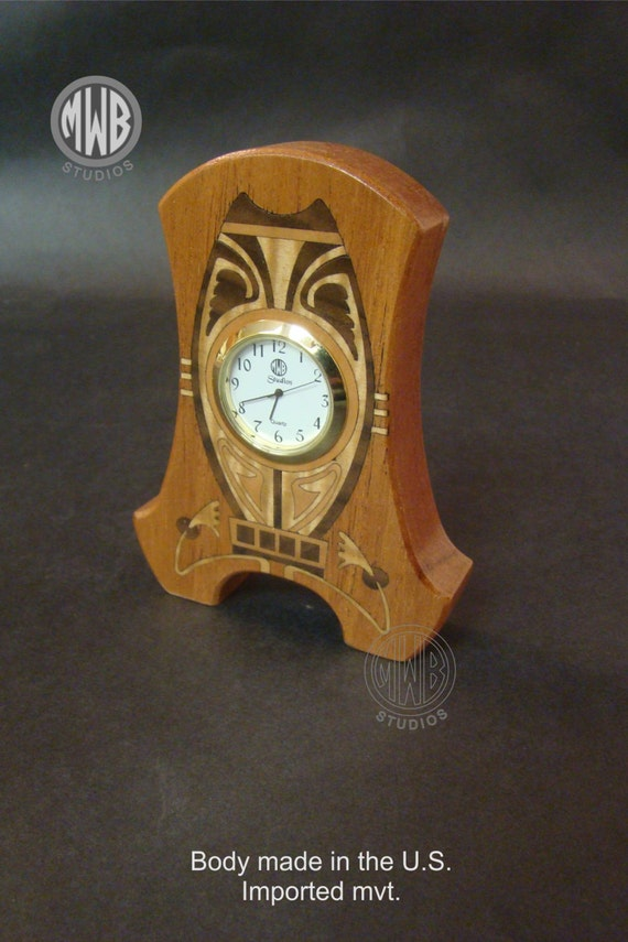 "Clock, Art Nouveau Inlaid ""Miniature"". MDC-30 Free Engraving, Free Shipping within the U.S."