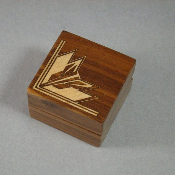 Ring Box With Art Deco Motif. Free Shipping and Engraving. RB-12