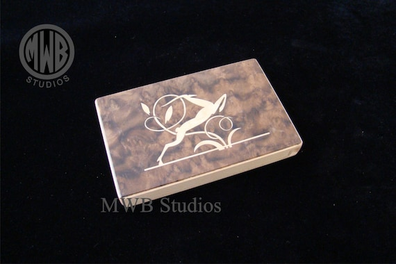 Inlaid Business Card Holder  BCH2  Art Deco.  Free Shipping and Initials inlay.