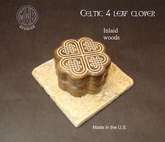 Engagement Ring Box of a Celtic 4 Leaf Clover. Free Shipping and Engraving. RB-44