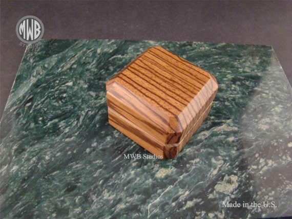 Engagement Ring Box of Solid Zebra Wood. Free Shipping and Engraving. RB-48