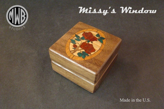 Ring Box with a Floral Motif. Free Shipping and Engraving. RB-88