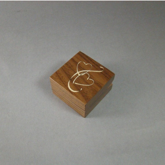 Engagement Ring Box, Inlaid Double Hearts. Free Shipping and Engraving. RB-19