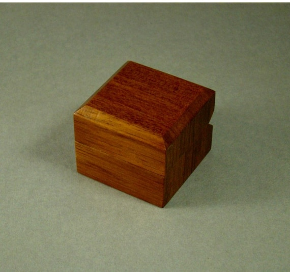 Ring Box made of Solid Babinga. Free Shipping and Engraving. RB-47