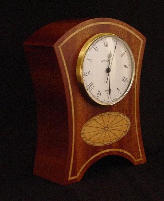 Clock Made of Ribbon Sapele, Oak and Anigre. MC29 Free Shipping within the U.S.