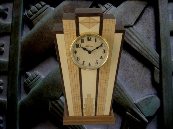 Clock, Art Deco Motif. MC40 Free Engraving, Free Shipping within the U.S.