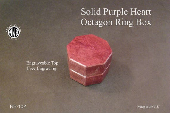 Engagement Ring Box,Solid Purple Heart Octagon Shaped. Free Shipping and Engraving. RB-102