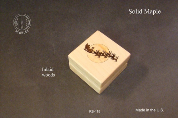 Ring Box for Christmas Inlaid Santa and Reindeer. Free Shipping and Engraving. RB-115