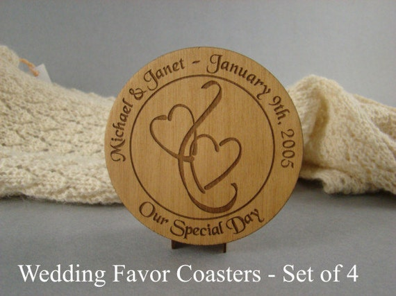 Wedding Favor Coaster set of 4 of Solid Cherry.  Free Shipping. CO-26