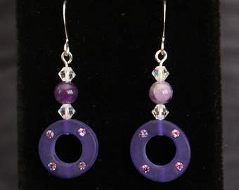 Swarovski Crystal and Amethyst Earrings