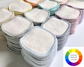 """Bamboo + Organic Cotton  Facial Rounds  Zerowaste Beauty - 3"""" or 4"""" Face Wipes - Choose your quantity and stitching color"""