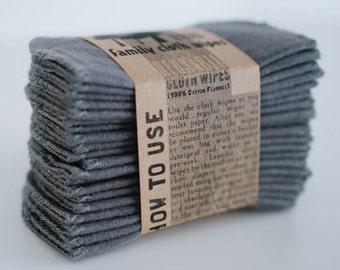 Cloth Wipes  -  Solid Grey - Double Layer - Choose your Size and Quantity