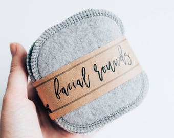 """Organic Heathered Grey  Bamboo Facial Rounds  Face Cloth - Make-up Remover - Facial Rounds - 4"""" Face Wipes - Choose your quantity"""