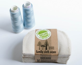 Organic Cloth Wipes - GOTS Flannel Cloth Wipes - Organic Family Wipes - Double Layer (Pale Blue Tread Edging)