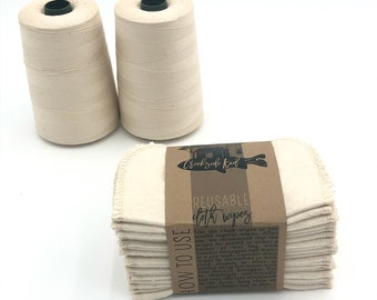 Organic Cloth Wipes - GOTS Flannel Cloth Wipes + Organic Undyed Cotton Thread - Double Layer