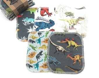 Cloth Wipes - Dinosaurs - Double Layer - Choose your Size and Quantity
