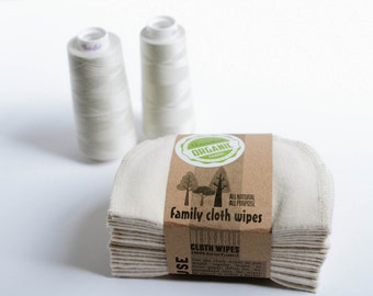 Organic Cloth Wipes - GOTS Flannel Cloth Wipes - Organic Wipes - Double Layer (Pearl Thread Edging)