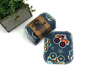 Cloth Wipes - Monster Puckup Trucks   - Double Layer - Choose your Size and Quantity