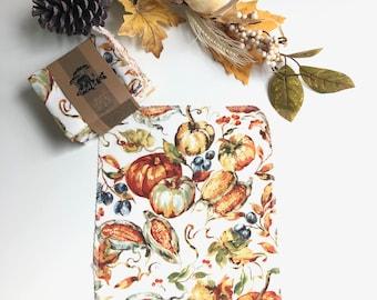 Unpaper Towels  Cloth Napkins -  12  Napkins - Autumn Harvest Pumpkins - Choose your size