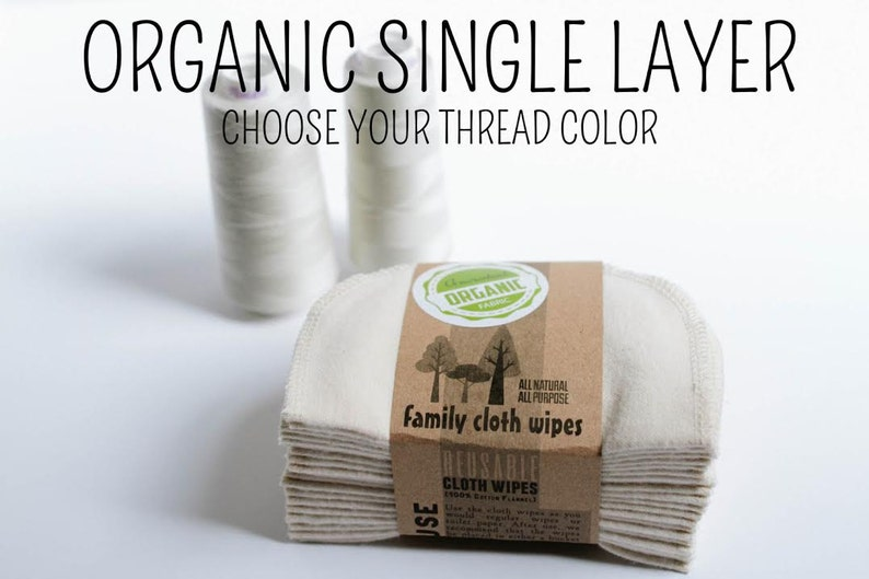 Single PLY  GOTS Flannel Cloth Wipes  Organic Cloth Wipes  image 0