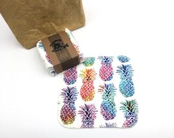 Reusable Unpaper Towels  Cloth Napkins -  12  Napkins  -  Pineapple - Choose your size