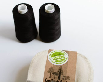 GOTS Flannel Cloth Wipes -Organic Cloth Wipes -   Organic Wipes - Double Layer (Black Thread Edging)