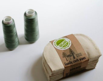 Organic Cloth Wipes - GOTS Flannel Cloth Wipes - Organic Wipes - Double Layer (Green Tread Edging)