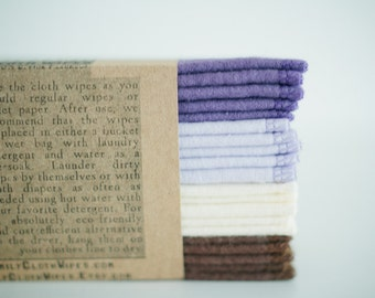 Cloth Wipes - Set of 20  - Solid Brown Cream Lilac Purple -  Double Layer