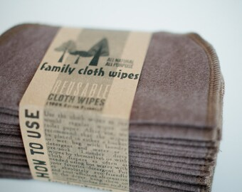 Baby Cloth Wipes - Reusable Baby Cloth Diaper Wipes - Set of 15  Wipes - Solid Brown