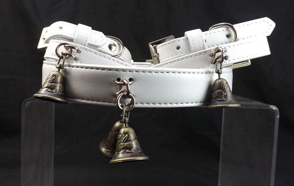 bdsm,collar,and,cuff,set,slave,bell,bondage,fetish,submissive,cuffs,bdsm collar and cuff set, bdsm collar, slave bell collar, gift for submissive, fetish set, slave collar set, white leather set, black leather set, bdsm collar set with bells