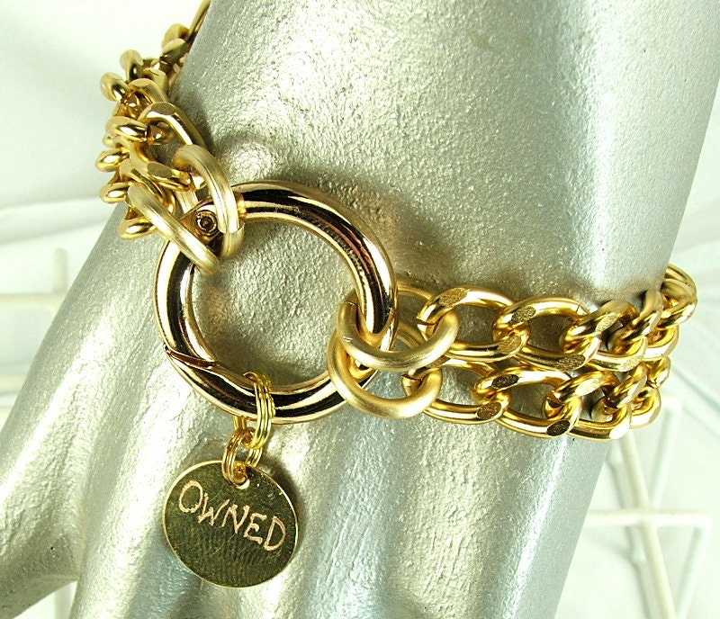 owned,bracelet,bdsm,jewelry,mens,submissive,male,slave,bondage,mine,charm,bdsm jewelry, mens bracelet, male submissive gift, hand engraved tag, owned bracelet, mine bracelet, bdsm gold bracelet, mens jewelry, submissive jewelry