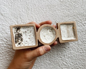 Neutral Shapes Ring Dish Tray - The Object Enthusiast - Speckled Ceramic Shapes Jewelry Tray with Gold Accents