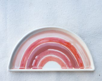 Pink rainbow porcelain dish. Valentine's day gift. Gift for her. The Object Enthusiast. Pink. Rainbow dish. Ceramic rainbow. Ring dish/tray.