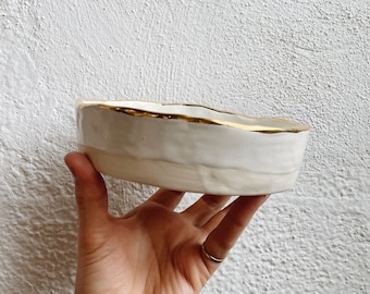 White and Gold Porcelain Ceramic Plate. 6 Inch ceramic plate. The Object Enthusiast. Ceramic Salt Cellar or Serving Dish.