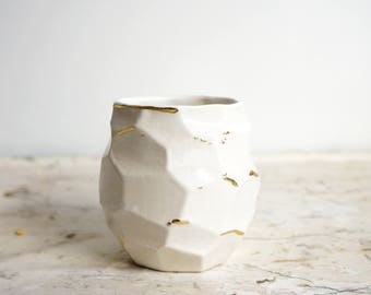 Faceted White and Gold Planter. Succulent or cactus planter. Ceramic planter. Gold ceramics. The Object Enthusiast. Home decor planter.