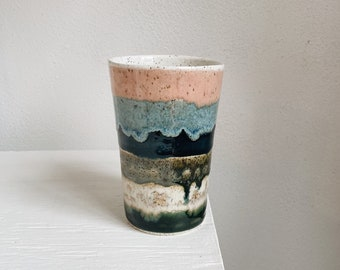 Colorful Striped Speckled Stoneware Tumbler - The Object Enthusiast - 16 ounce porcelain ceramic tumbler
