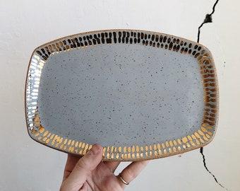 Gray + Gold Dash Ceramic Oval Vanity Tray - The Object Enthusiast - Handmade Ceramics