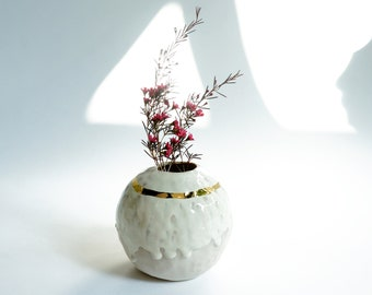 Cream and gold sphere vase. Porcelain spherical vase. Porcelain ceramic vase. The Object Enthusiast. Ceramic home decor. Modern Ceramics.