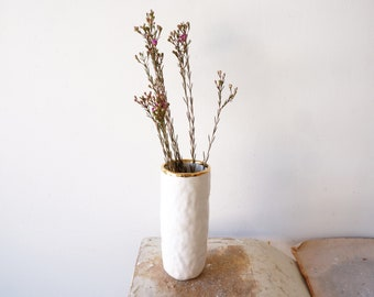 White and gold rimmed cylinder vase. Porcelain ceramic vase. The Object Enthusiast. Flower vase. Mother's Day gift idea. Gold ceramics.